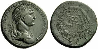 304: Trajan, 98-117. Sestertius, c. 112-114. Rv. port of Ostia. RIC - (cf. 632). Extremely fine / very fine. Starting price: 3,000 euros. Hammer price: 9,500 euros.