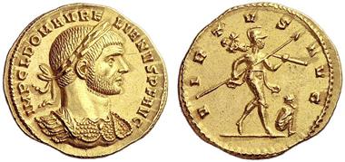 402: Aurelianus, 270-275. Aureus, 274. RIC 15. Extremely fine. Starting price: 6,000 euros. Hammer price: 17,000 euros.