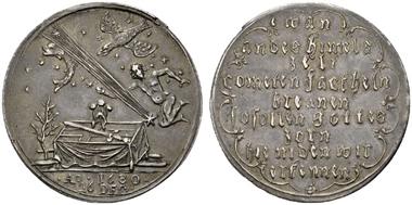 Los 835. Österreich-Habsburg. Leopold I. (1657-1705). AR-Medaille, 1680 nicht signiert. Auf den 1680 entdeckten Kometen. RR. ss. Rufpreis: 340 Euro.