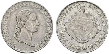 Los 2293. Franz I. ((1792)-1806-1835). 20 Kreuzer 1831 A. ex Lanz vom 2.12.1978. RR. s.sch. Rufpreis: 1.500 Euro.