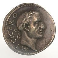Römische Phantasie-Münze mit dem Portrait M. Tullius Ciceros, im Inventar des Basilius Amerbach (1533-1591) erwähnt als