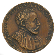 Medaille in Sesterz-Größe von Giovanni da Cavino (1500-1570) auf den Arzt und Sammler Ludovic Demoulin de Rochefort (1515-1582).