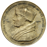 Vorderseiten der Erasmus-Medaille aus dem Besitz des Universalgelehrten, entworfen 1519, und einer modernen Adaption von Loekie Metz (1969).