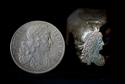 In the 1660s, Thomas Simon, formerly Chief Engraver to Oliver Cromwell, was so determined to engrave Charles II's currency that he sent the king one of these beautiful coins to demonstrate his skills. Yet, despite his efforts, Charles gave the job to Dutchman John Roettiers. Sadly, just three years later, Simon fell victim to the plague and died. On the right: Charles' image was painstakingly engraved onto this 'portrait punch'. It was used as the master tool so that identical dies could be made quickly for use in the new screw presses. © Historic Royal Palaces.