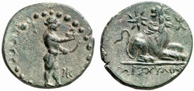 Milet. Bronze, um 200 v. Chr. Av. Statue des Apollon von Didyma. Künker 133 (2007), 7586.