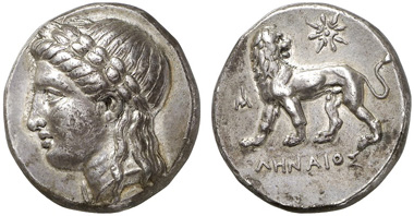 Milet. Tetradrachme, 352-325. Gorny & Mosch 211 (2013), 362.