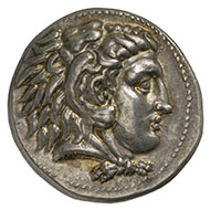 Alexander III, King of Macedonia (336–323 BC). Drachm, Sardis, 332-323 BC. Head of Heracles with lion scalp, facing right. Rev. Zeus upon his throne, facing left, an eagle upon his outstretched right hand; in the left field, the mint mark kantharos. © MoneyMuseum, Zurich.