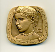 Emma Lazarus medal, courtesy of the Jewish-American Hall of Fame.