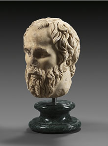 1 Marble head of a philosopher with long beard. Roman Imperial Period, 2nd half 2nd century A.D. Estimate: 65.000 Euro. Final price: 129.800 Euro